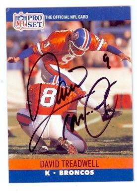 Denver Broncos Pro Football Autographed (David Treadwell Autographed Football Card (Denver Broncos) 1990 Pro Set No.492)
