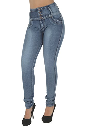 Fashion2Love N1191 – Colombian Design, Butt Lift, Levanta Cola, High Waist Sexy Skinny Jeans in Washed Blue Size 9 by Fashion2Love
