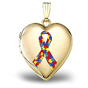 PicturesOnGold.com 14K Yellow Gold Autism Awareness Heart Locket 3/4 Inch X 3/4 Inch in Solid 14K Yellow Gold