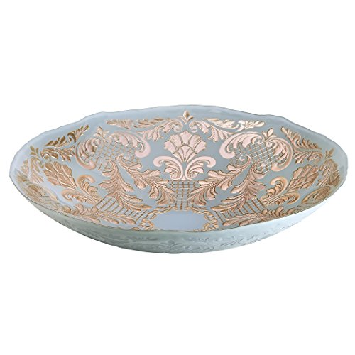Amici Home, 7TD221R, Siena Collection Oval Serving Bowl, Powder Blue and Rose Gold Damask Pattern, Handmade Decorative Turkish Serveware, 16 Inch Diameter