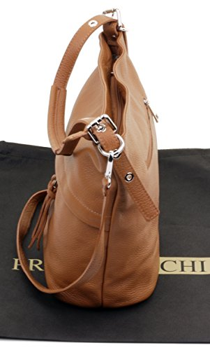 Sacchi® Body Primo Shoulder Grab Textured Italian Tan a Bag Protective Handbag Bag Includes Leather Branded Cross Storage dFq4xFrY
