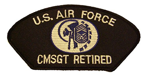 Chief Master Of The Air Force - US AIR FORCE CHIEF MASTER SERGEANT CMSGT RETIRED with INSIGNIA PATCH - White and Royal Blue on Black Background - Veteran Owned Business