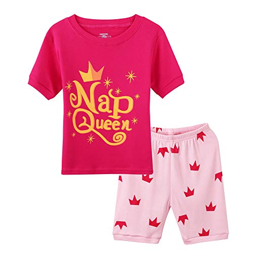 (Hsctek Girls Sleepwear, Short Sleeves Big Kids Pajamas Set, Summer Girls Princess Clothes(8, Rose Queen) )