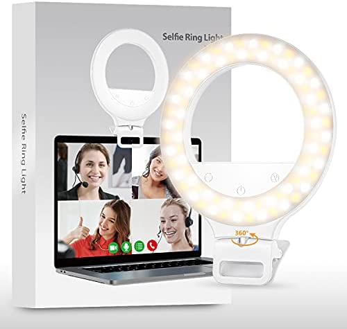 Video Conference Lighting, Touch Control Ring Light for Laptop Meeting, 360° Rotation Zoom Lighting, Long Battery Life Ring Light for Phone Selfie, Video Conferencing, Remote Working