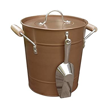 Antique Rustic Style Copper Ice Bucket with Scoop, Handles, and Lid, Brown, Medium, 10  x 10  x 9