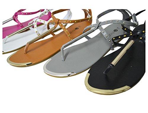 ... Womens Strappy Gladiator Flate Sommer Sandaler (gs-sandaler) 6317-rosa