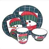 Sakura Snowmen Portrait 16-Piece Dinnerware Set, Service for 4