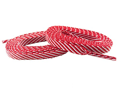 (Team Color Laces (114cm/45in Women/Teen, Red w/White Stripe))
