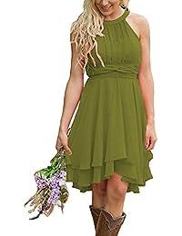 1bfa40ba1bdd Women s 2018 Short Halter Chiffon Hi Lo Country Bridesmaid Dress A-Line  Zipper Strapless Wedding