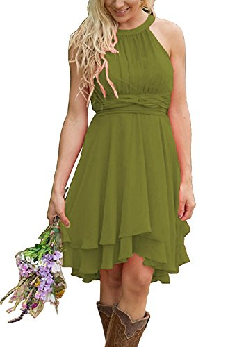 Meledy Women's 2018 Short Halter Chiffon Hi Lo Country Bridesmaid Dress A-Line Zipper Strapless Wedding Gown Oliva US16 Olive ()