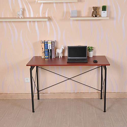 (Modern Computer Desk Desktop Writing Workstation Home Office Furniture Simple Dorm Room Compact Living Room Bedroom Black Brown)
