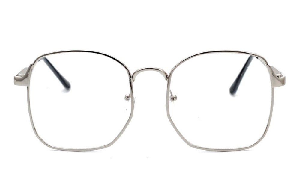 Nuni Wire Frame Nerd Bookworm Oversized Square Aviator Eyeglasses (silver)