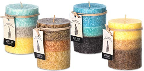 Clean Burning Scented Palm Wax Candles Set for Home Bundle of 2 Decorative Layered Pillar Candles 3 x 4 Inches (Bundle of 4-Blue Mood, Sunflower, Sea, Mahogany)