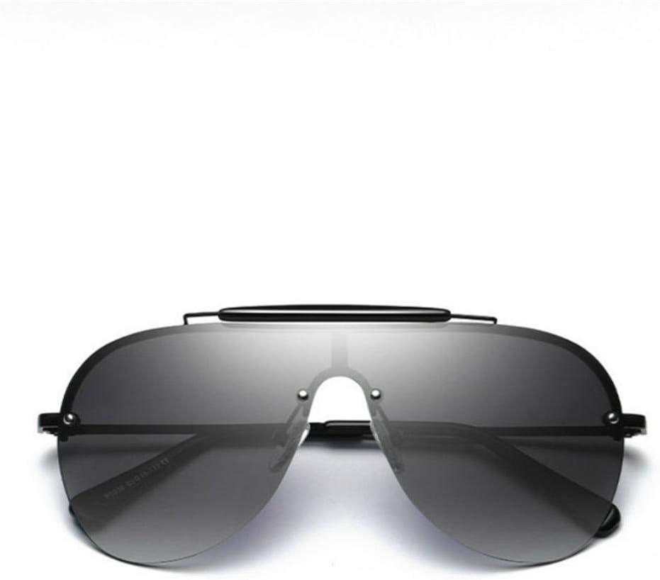 Lunettes de soleil Hommes Polarisée Marque Noir Semi Rimless Lentille Ombres UV400 Gradient Lunettes de Soleil pour Hommes Cool Eyewear Noir/gris.