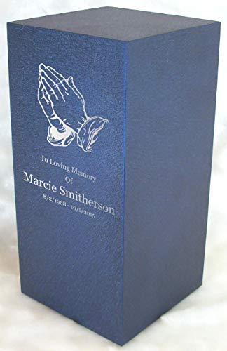 Praying Hands Cremation Urn - Personalized Engraved Praying Hands Cremation Urn for Human Ashes-Made in America-Handcrafted in The USA by Amaranthine Urns-Eaton DL- Adult Funeral Urn (up to 200 lbs Living Weight) (Deep Sea Blue)