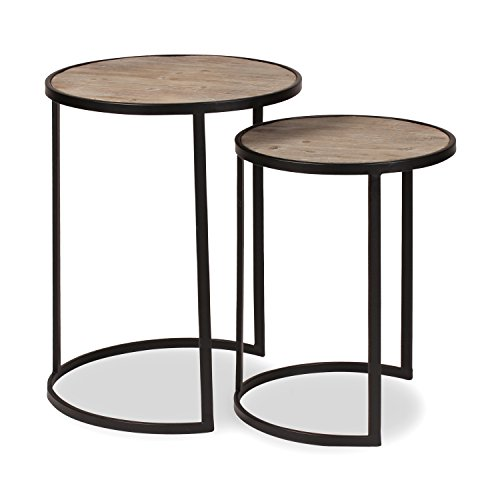 Kate and Laurel Gracen Metal and Wood Nesting Tables 2 Piece Set, Black and Natural Wood by Kate and Laurel