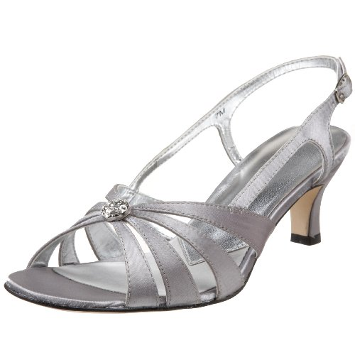 David Tate Women's Rosette Evening Sandal,Silver Satin,10 M US