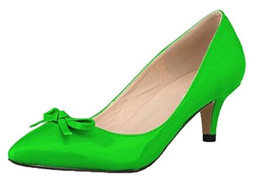 HooH Women's Pointed Toe Sweet Bowknot Kitten Pumps-Green-37