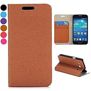 LIMME Wood Grain Wallet Style Flip Stand Leather Case with Card Slot for Samsung Galaxy Core 4G(Assorted Colors) , Brown