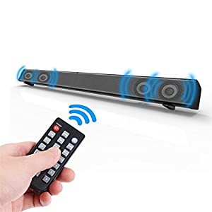 Elecder 2.0 Channel Bluetooth Sound Bar 31.5-Inch 40 Watt Soundbar, With Button and Remote Control, Wall Mountable, Four 10 W Drivers, Support AUX/Optical/Coaxial/TF Card.