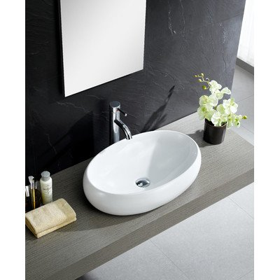 Modern Vitreous China Bulging Oval Vessel Sink Vessel Bathroom Sink ()