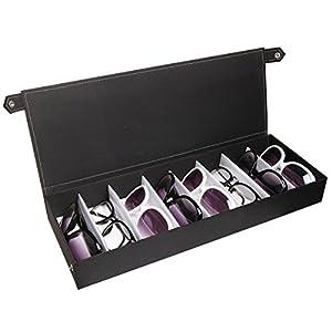 Modern Design Black 8 Compartment Fabric Sunglasses Storage Organizer Box / Watch Display Case