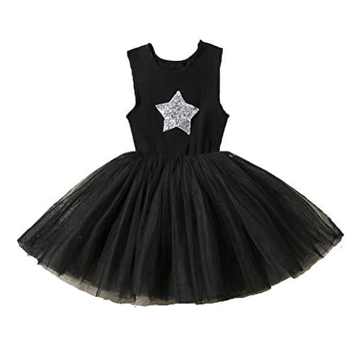 Girls' Tutu Tank Dress Sequin Star Soft Cotton Casual Tulle Sleeveless Ruffle Wedding Party Dress - Star Toddler T-shirt