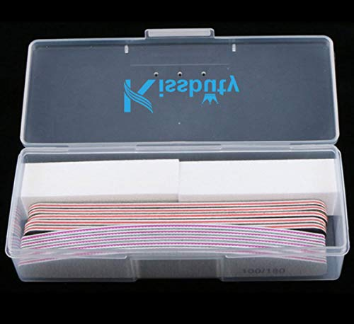 Kissbuty 12PCS/Box Mixed Combination Nail File Cosmetic Manicure Pedicure(2pcs White Buffer Block+5pcs Emery Board Black+5pcs Emery Board -