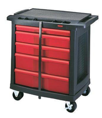 5 Drawer Mobile Workcenter - Rubbermaid Commercial 5-DRAWER MOBILE WORKCENTER 32.6X19.8X33.5 BLA/RED
