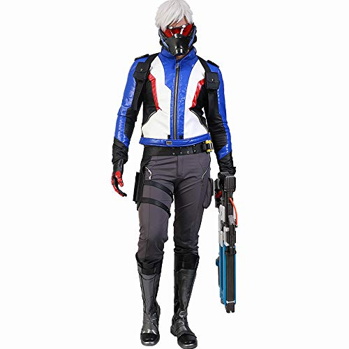 OW Newest Soldier 76 Hot Game Cosplay Collection Set of PU Leather Jacket +Pants Size XL]()