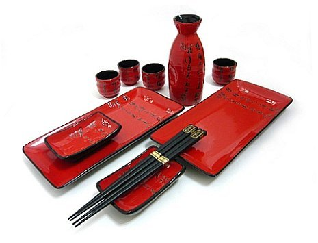 MySushiSet - 11 PCS Scarlet Red Sushi and Sake Set for Two with Chinese Script