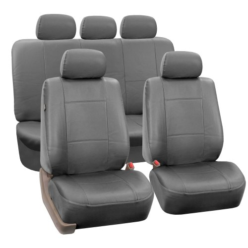 FH Group PU002115 Classic PU Leather Car Seat Covers Solid Gray, Airbag Compatible and Split Bench - Fit Most Car, Truck, SUV, or -