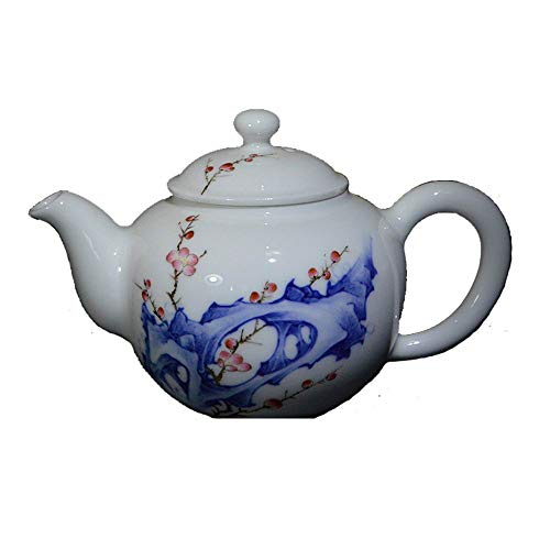 Hand-painted blue and white bucket color teapot Single pot ceramic Taihu stone plum blossom Kung Fu teapot gentleman hall