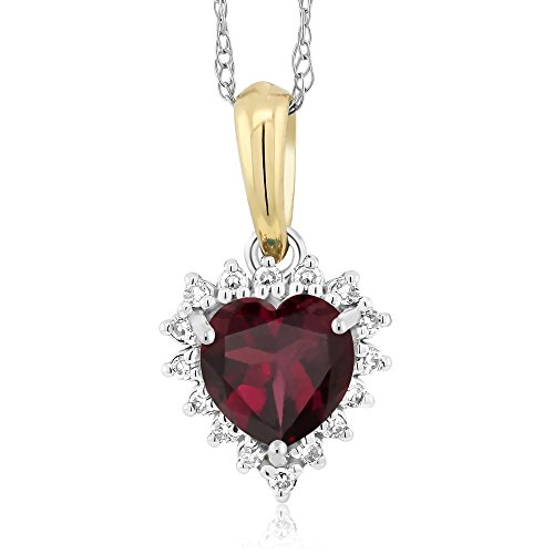 18K Two-Tone Red Rhodolite Garnet and Diamond Heart Shape Pendant 0.55 Ct (Tone Pendants Garnet Two)