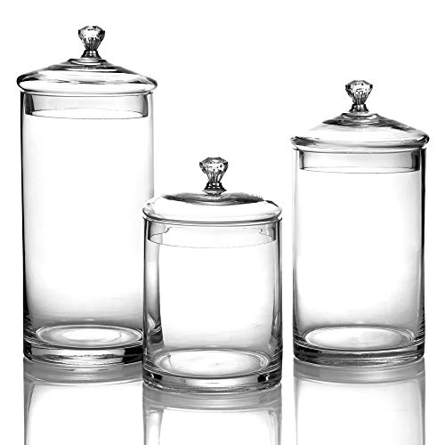 (Style Setter 203253-GB Canister Set 3-Piece Glass Jars Chic Design With Lids And Silver Knobs for Cookies, Candy, Coffee, Flour, Sugar, Rice, Pasta, Cereal & More 12.2, 10, 8.42