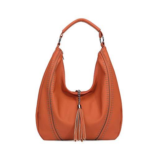 (Handbags for Women, Hobo Shoulder Bags Large Compacity Tote Purses with Tassel Decoration (Orange))