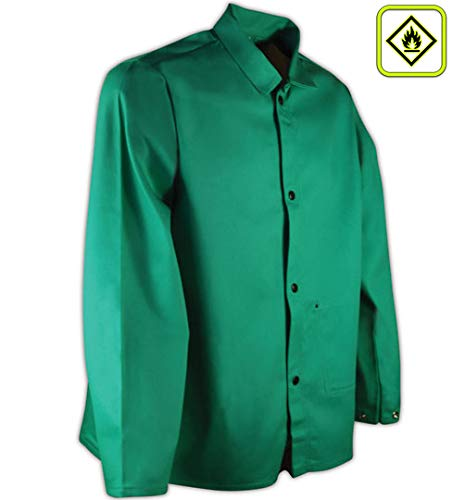"Magid SparkGuard Flame Resistant 12 oz. Cotton Jacket, 30"", Green, Large"