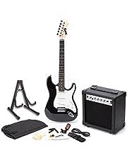 RockJam elektrisk gitarr superkit med amp, strängar, tuner, band, fodral och kabel – svart