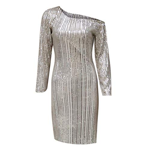 0dab5de4b65 Nadition Women Sexy Skew Neck Bandage Sequin Dress Ladies Glitter Long  Sleeve Evening Party Gown Dress