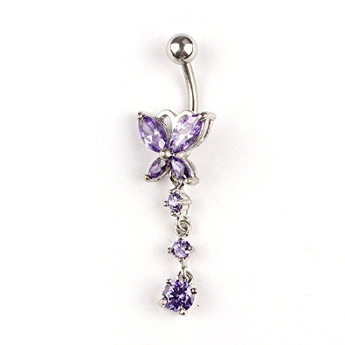 Navel Dangle Butterfly (Pooqdo (TM) Crystal Butterfly Dangle Ball Barbell Bar Belly Button Navel Ring (Purple))