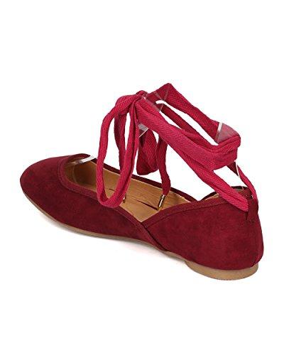 Wilde Diva Dames Faux Suede Ballet Plat - Enkel Wrap Ballerina Plat - Ronde Neus Plat - Gi26 Van Bordeaux Faux Suede