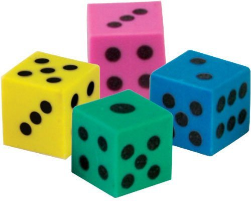 (Lot of 144 Assorted Color Dice Theme Erasers)