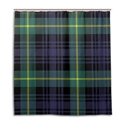 (Amanda Billy Fantasy Purple Checkered Pattern Natural Home Shower Curtain, Beaded Ring, Shower Curtain 72 x 72 Inches, Modern Decorative Waterproof Bathroom Curtains )