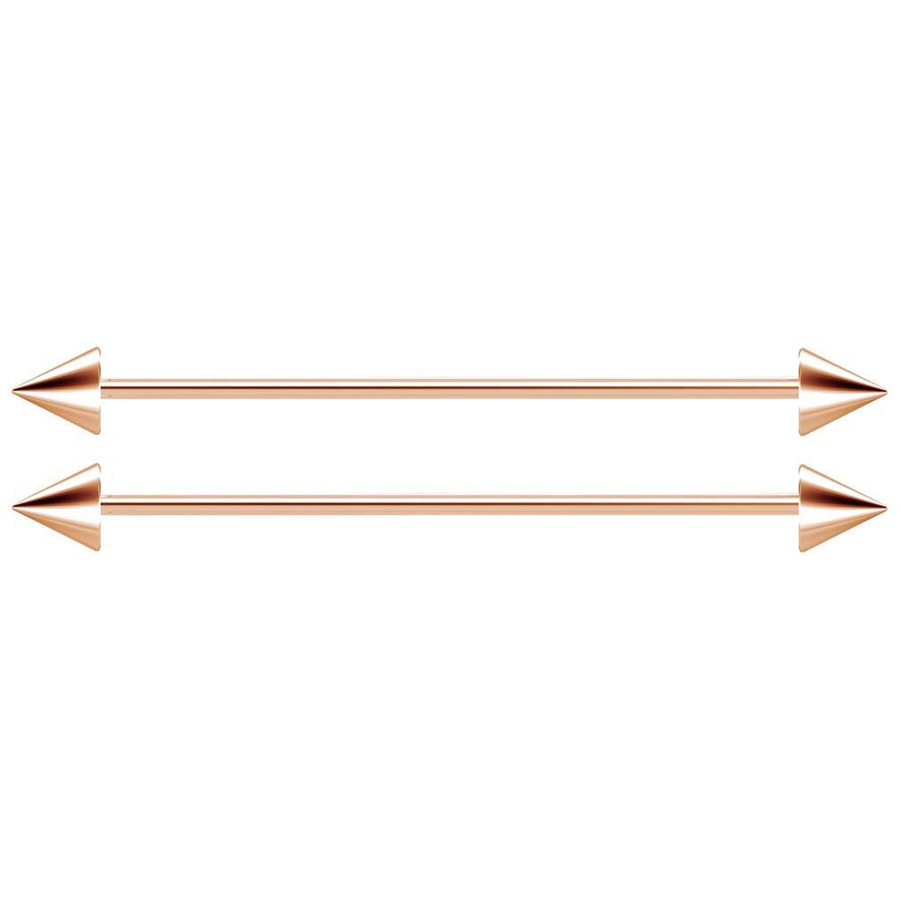 ,35mm 1 1//4 ,38mm 2pc 14g Industrial Barbell Earrings Cartilage Ear Long Bar 32mm 1 1//2 Surgical Steel Gauge Ball for Men Women Piercing Jewelry 1 3//8