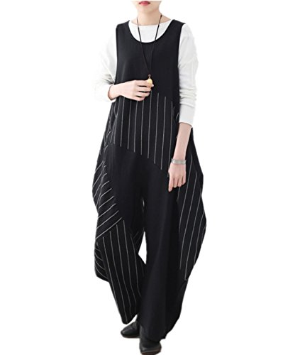 Wool Leg Wide Pants (YESNO PK9 Women Casual Loose Jumpsuits Baggy Overalls 100% Cotton Crew Neck Asymmetric Pinstripe Wide Leg Back Zipper)