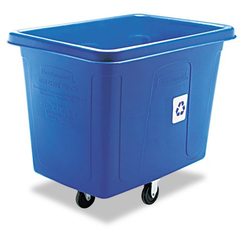 Rubbermaid® Commercial - Recycling Cube Truck, Rectangular, Polyethylene, 500-lb cap, Blue - Sold As 1 Each - Ideal for waste collection, material collection and laundry handling. by Rubbermaid® Commercial