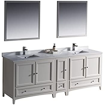 Fresca Oxford Antique White Traditional Double Sink Bathroom - 84 bathroom vanities and cabinets