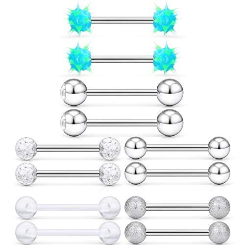 SCERRING 6 Pairs 14G Stainless Steel Soft Silicone Clear Acrylic Jeweled CZ Nipple Ring Tongue Straight Barbell Rings Bars Body Piercing Jewelry for Women Men Silver