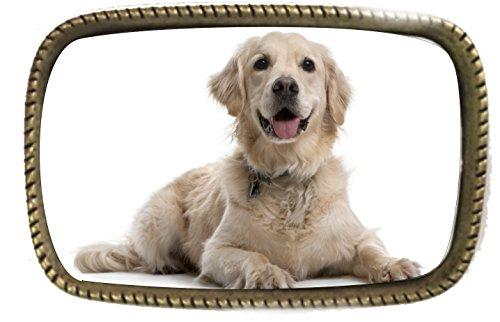 Golden Retriever Belt (A Golden Retriever Sitting Pets And Animals Brass Belt Buckle Made In)