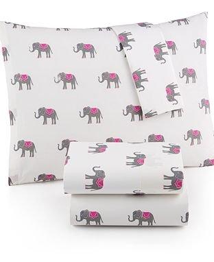Martha Stewart WHIM Collection 100% Cotton Sheet Set Lucky Elephants (Full) -
